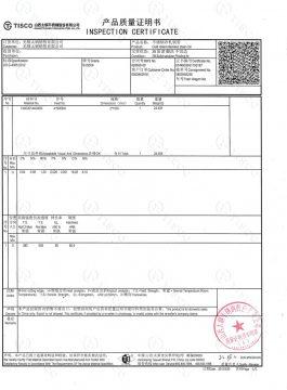 304SS denetim sertifikası